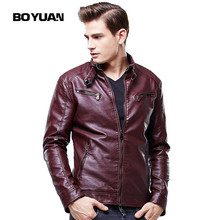 BOYUAN Faux Leather Jacket Men Chaqueta De Invierno De Los Hombres Manteau Homme Mens PU Slim Leather Jacket Motorcycle 8609