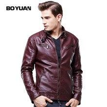 BOYUAN Faux Leather Jacket Men Chaqueta De Invierno De Los Hombres Manteau Homme Mens PU Slim Leather Jacket Motorcycle 8609