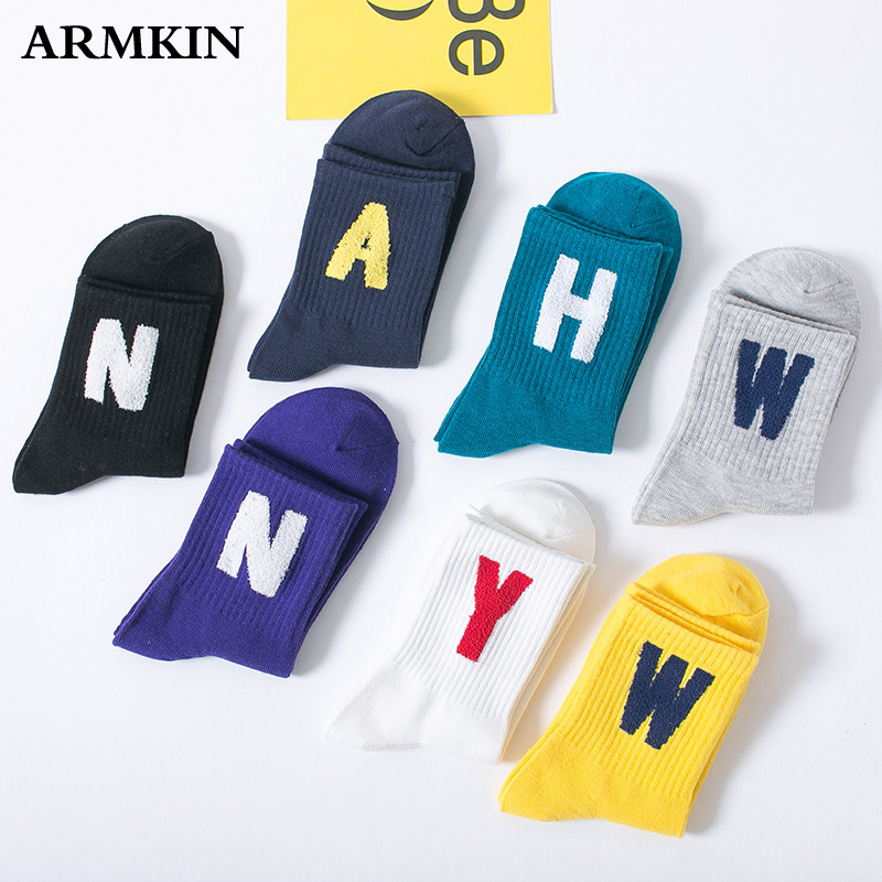 ARMKIN Casual Korea Women Socks Winter Cotton Letter Long Socks Embroidery Fashion Sport Girl Socks Super Cute Happy Socks