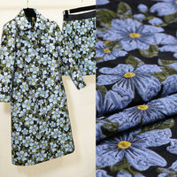 145cm width 3D stereo brocade jacquard fabric,dress fabric women coat tissu polyester fabric floral blue flower jacquard fabric