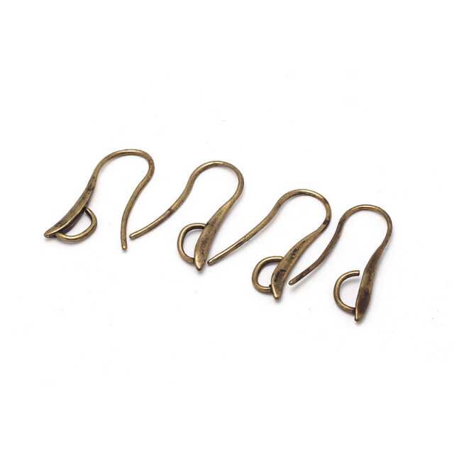 Metal Copper Earring Hoop Antique Bronze Earring Findings Hook Earring Components For Earring Making 10pcs 14*28mm Hook02