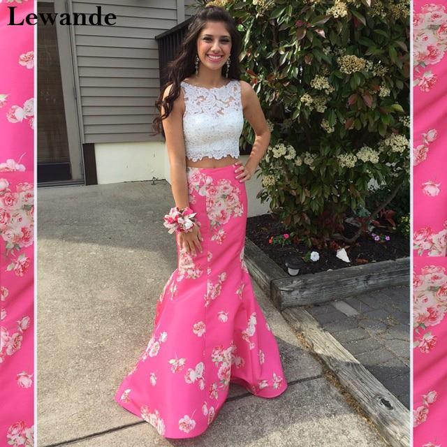 Lewande cuentas Encaje dos piezas floral impreso vestido de fiesta ...