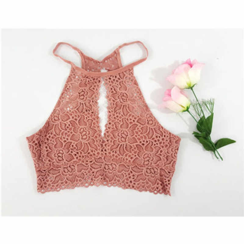 75ae201d675 ... Lady Blusas Sexy Crochet Top Vintage Boho Bralette Halter Crop Tops  Crochet Wave Trim Beach Top ...