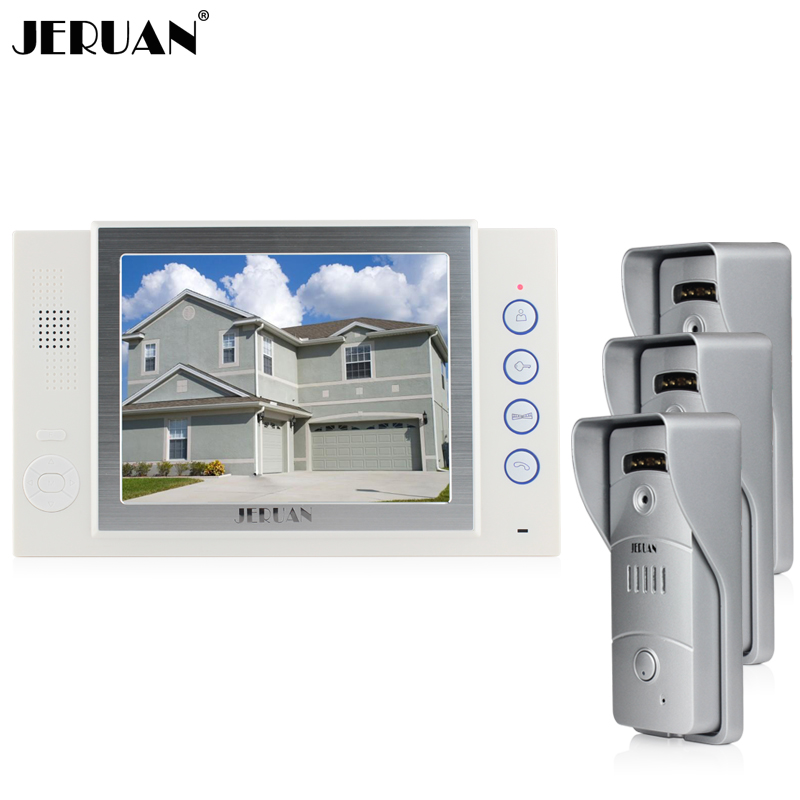JERUAN Home Wired 8 inch video door phone Recording intercom system 3 metal Pinhole camera Open three doors 8G SD Card