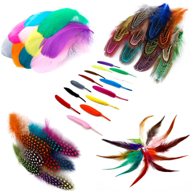 300 PCS Assorted Color Pretty Colorful Feathers Straight Style for DIY Craft Costumes Hair Accessory Corsage Home Decor Performance Wedding Party