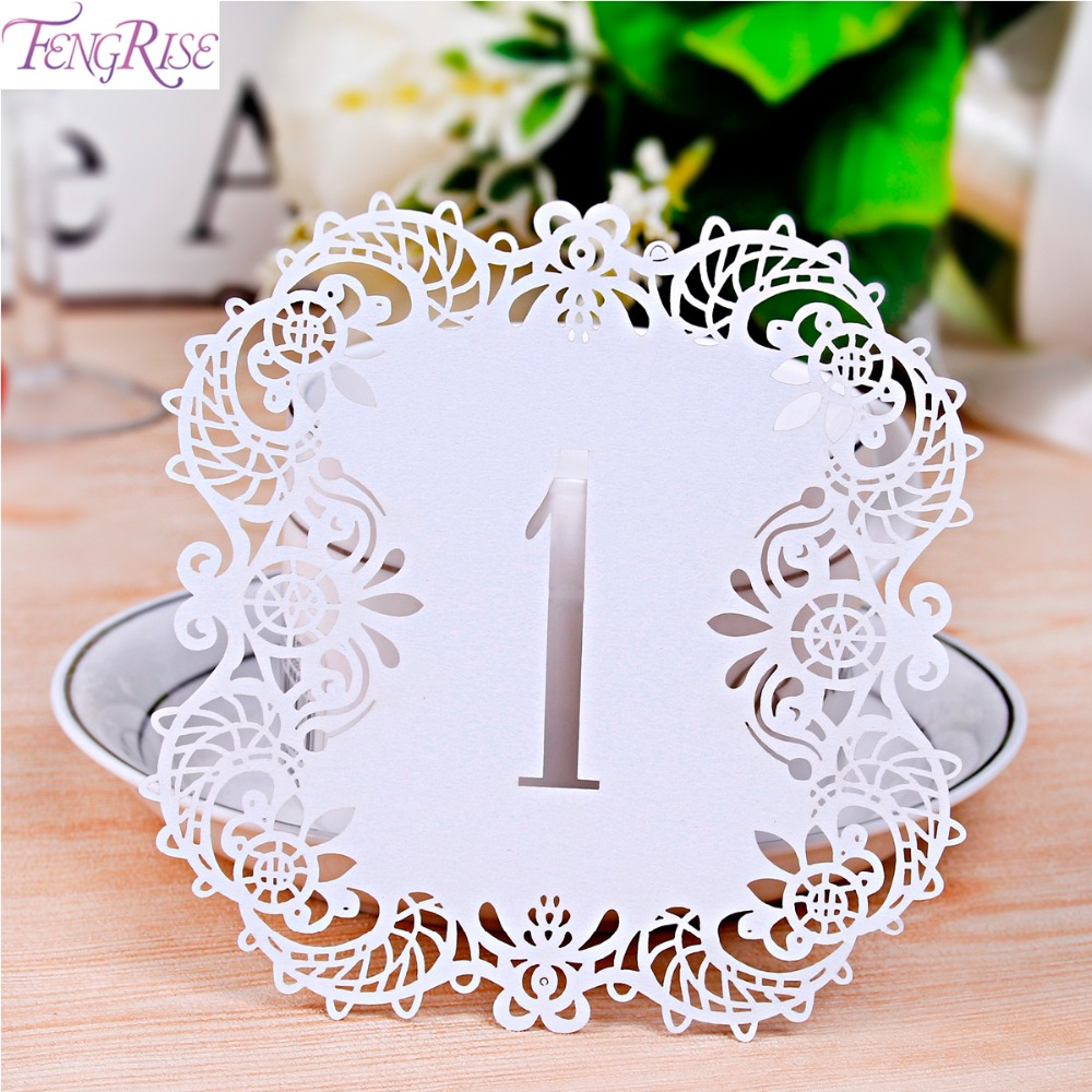 fengrise 10 pieces table number card laser cutting vintage table place card restaurant wedding table decoration