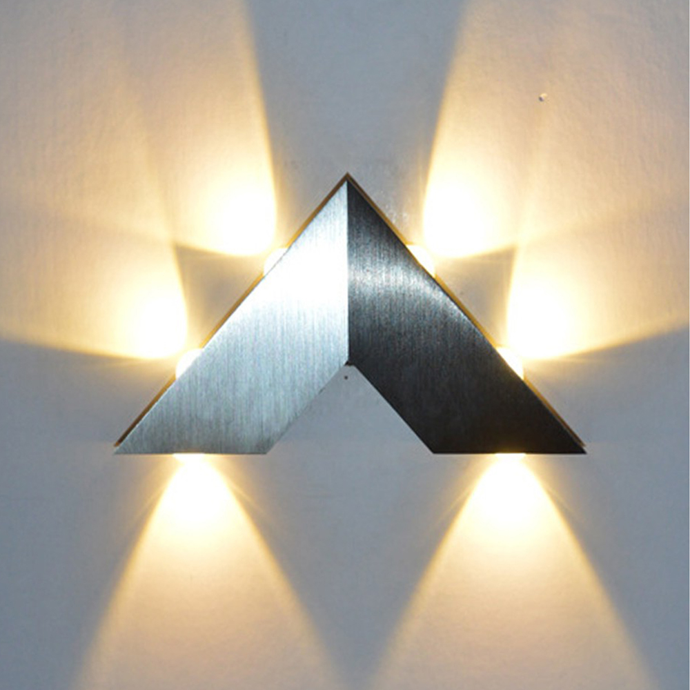 Modern V Shape Aluminum Triangle Wall Light For Indoor Decoration Living room Bed room Corridor 6W AC85-265V Wall Lamp F
