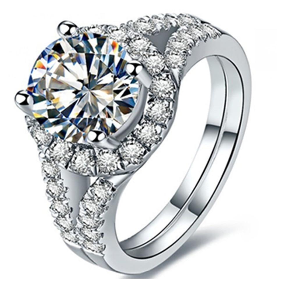 2 ct 라운드 우수한 보석 반지 sona 다이아몬드 반지 약혼 여성을위한 스털링 실버 주얼리 18 k 화이트 골드 도금-에서반지부터 쥬얼리 및 액세서리 의  그룹 1
