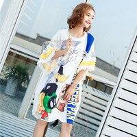 Loose Streetwear Designer Women Summer Dresses Cartoon Rabbit Letters Print Casual Ruffles Sleeve Dress Women Maxi