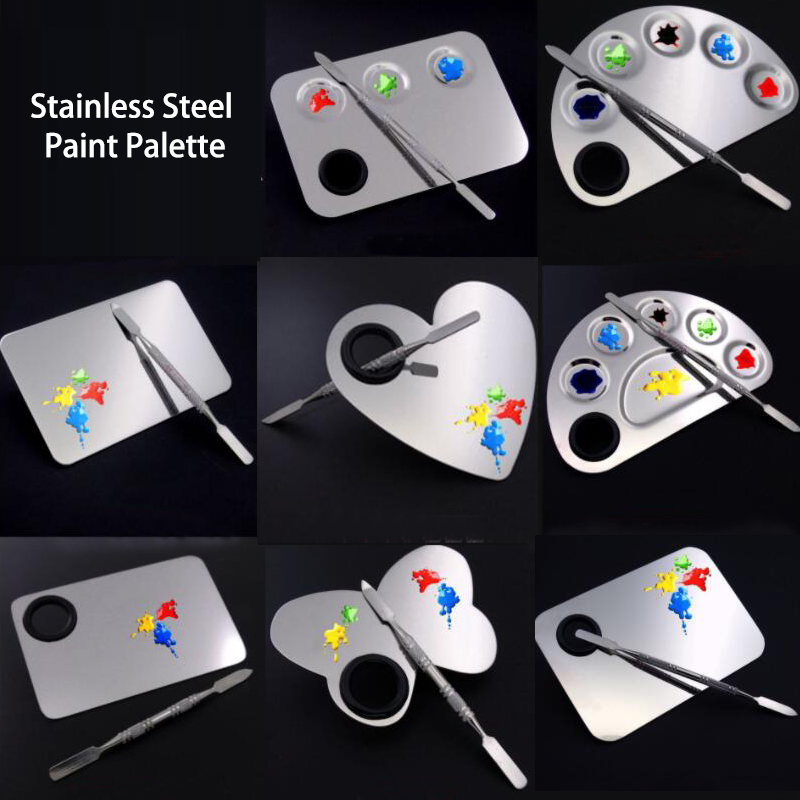 High Quality Stainless Steel Paint Palette Makeup Palette For Watercolor Acrylic Oil Painting Material Escolar Art Supply