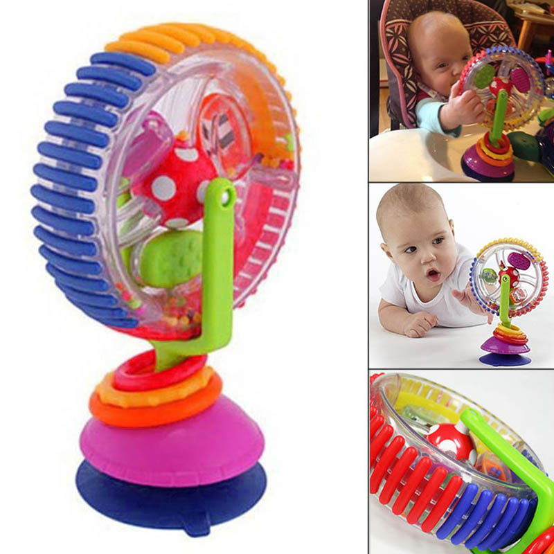 Hot Selling Baby Suction Ferris Wheel Toy Rattle Rainbow High Chair Toy For Baby