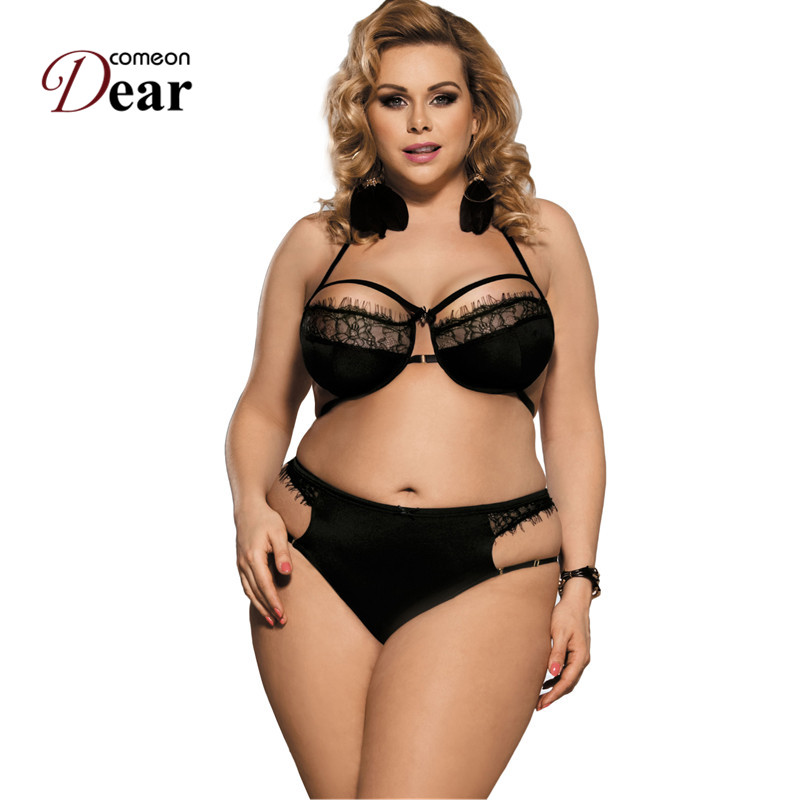 RK80294 Black Eyelash Lace Strappy Sex Woman Bra Set Exotic Apparel Crotchless Lingerie Sets Hot Sale Plus Size Sex Lingerie Set