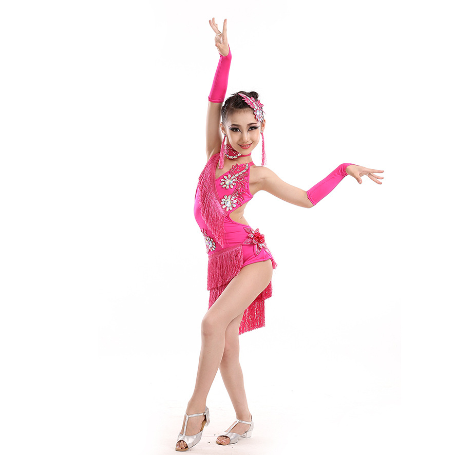 Blusa Social Feminina Salsa Dance Dresses Kids Samba Dance Costumes Latin American Dance Dress