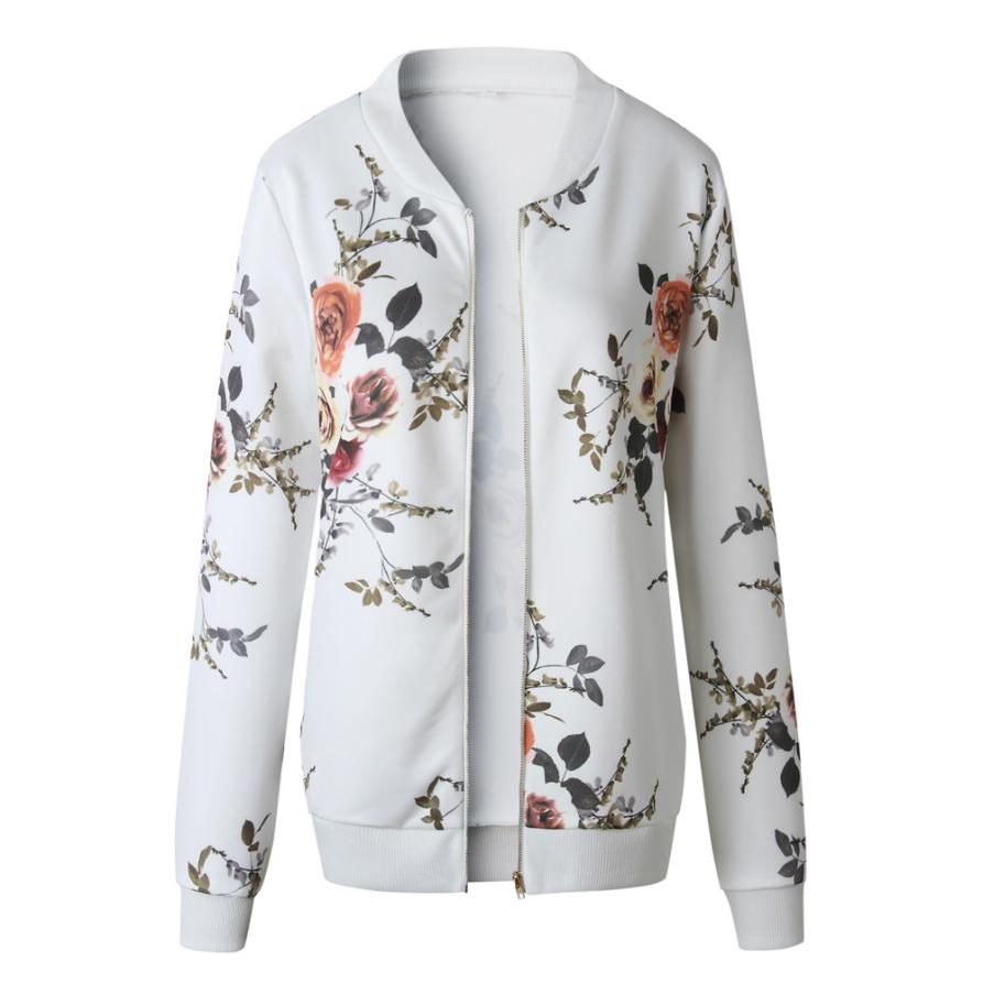 Outerwear & Coats Jackets Womens Ladies Retro Floral Zipper Up Bomber Outwear Casual coats and jackets women 18AUG10 25