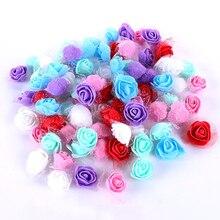 500 шт/партия искусственные цветы 3,5 см кружева пены розы Искусственные цветы домашний Декор DIY с пряжей розы аксессуары в виде мишки ремесло Flowe
