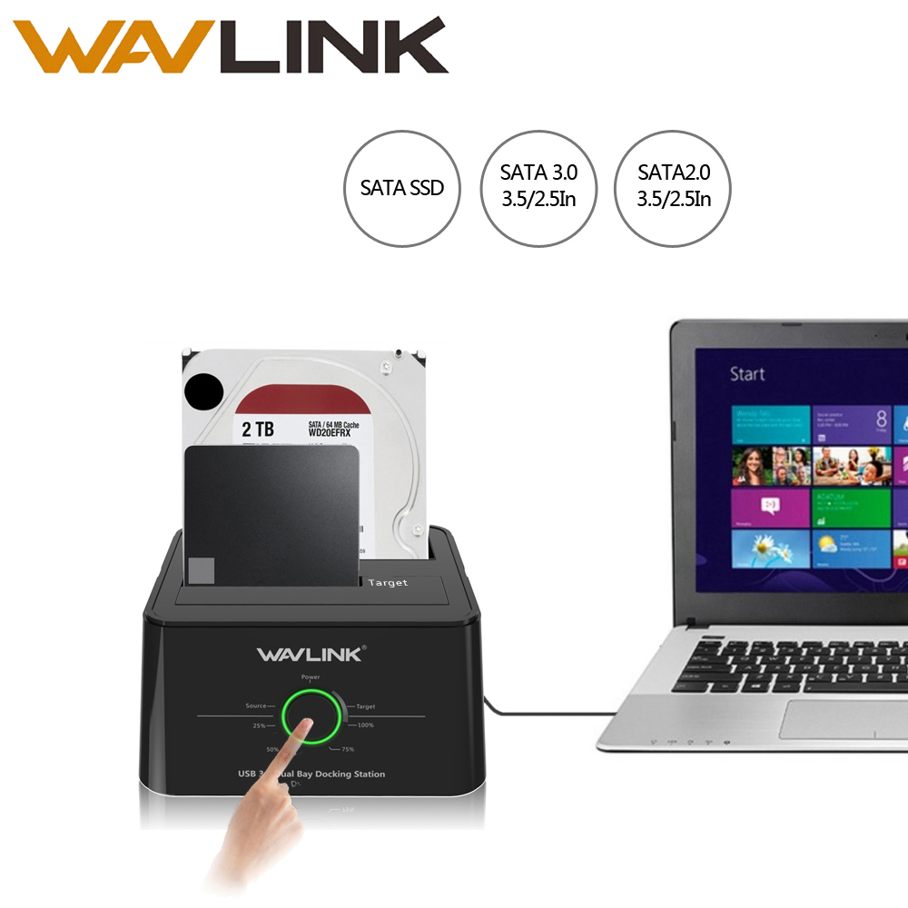 Wavlink USB C 3.1 to SATA Dual Bay External Hard Drive Docking Station for 2.5/3.5 HDD/SSD Offline Clone/Backup/UASP Functions