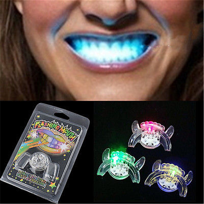 Halloween Party Glow LED Teeth Flashing Light Up Mouth Braces Piece For Rave Supplies