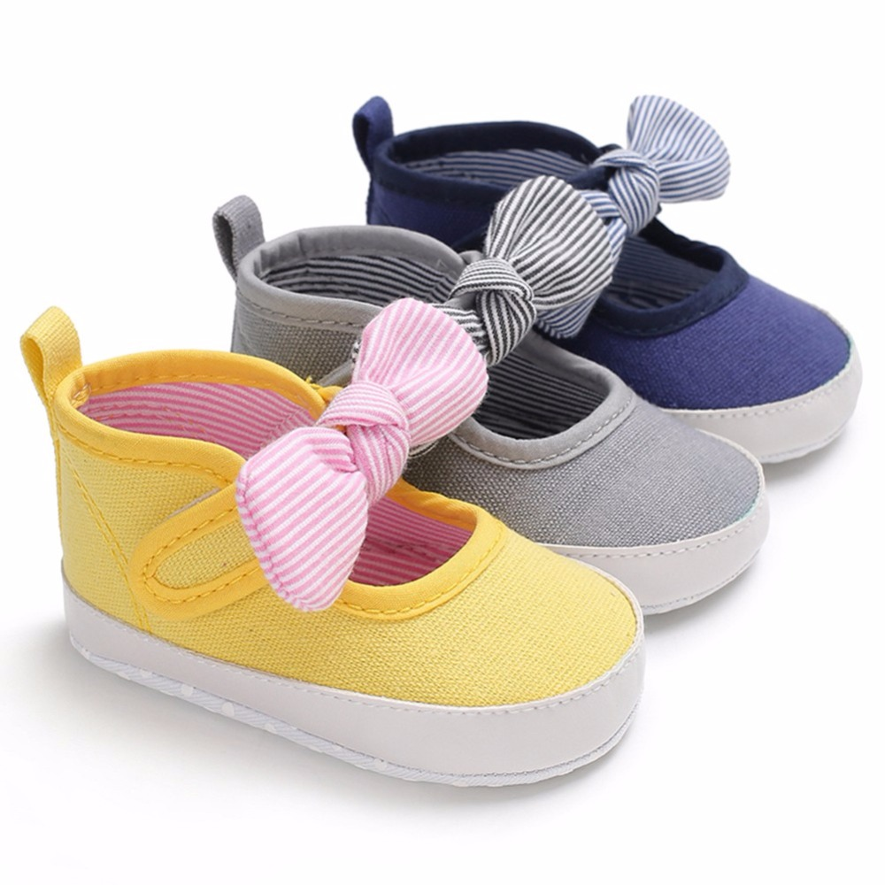 0-18M Toddler Baby Girl Soft Bow Casual Cute Canvas Princess Shoes Infant Prewalker New Born Baby Shoes