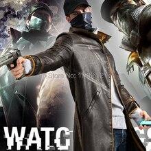 WatchDogs Aiden Pearce игровой костюм для косплея пальто плащ Тренч куртка из искусственной кожи Верхняя одежда Пальто с капюшоном