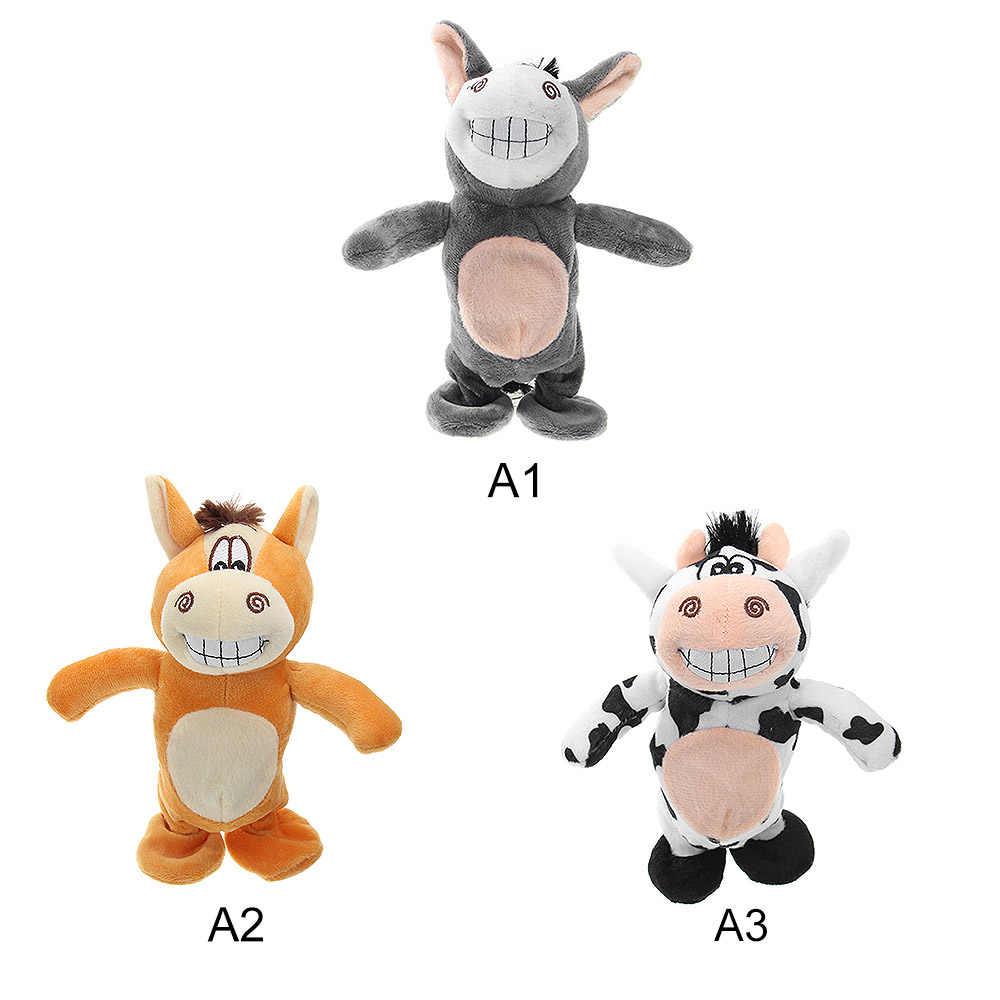 Электронный плюшевый Ослик говорящая игрушка коровы Милая говорящая музыка ослик и прогулки Куклы Домашние животные, плюшевые игрушки электрические прогулки животных