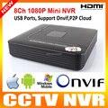 Suporte Do Telefone Inteligente e Onvif NVR de 8 canais 1080 P P2P Nuvem MAX 4 TB HDD 8CH Mini-nvr 1U Network Video Recorder HDMI/VGA saída