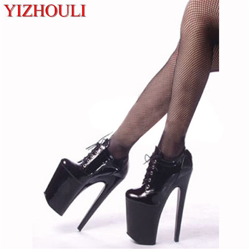 Sexy fashion high-top classic boots 20cm high-heeled shoes 8 inch performance women's shoes black single shoes 20cm pole dancing sexy ultra high knee high boots with pure color sexy dancer high heeled lap dancing shoes
