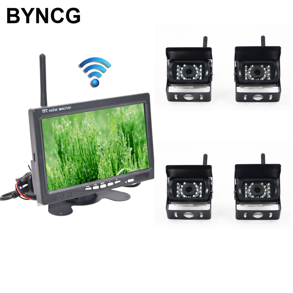 Rear View Camera For Trucks Wireless 4 Backup IR Night Vision Waterproof With 7