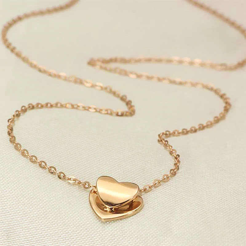 da488e354 ... 18k Pure Rose Gold Pendant Necklace Genuine Smart Heart Lovely Charm Gift  For Girlfriend Fashion Trendy ...
