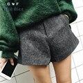 Cortocircuitos de las mujeres 2016 Nuevo de la Llegada del Invierno Moda Casual Rayas Botón de Cierre Con Cremallera Estilo Europeo de Lana Cortocircuitos Delgados Pantalones Femeninos