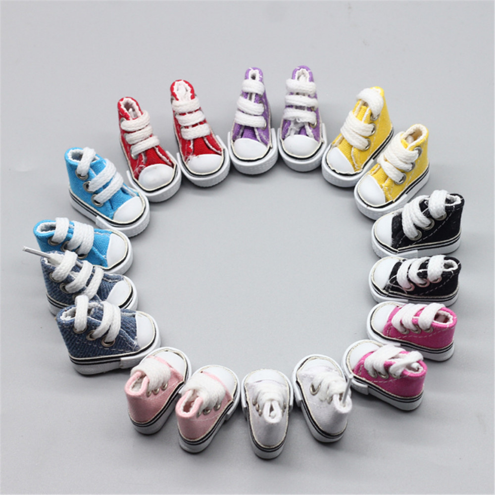 1 Pair 3.5cm Doll Shoes For BJD Doll Mini Shoes For Russian Doll 1/6 BJD Sneakers Shoes Doll Accessories 9 Colors For Choose