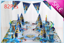 82pcs Minions kids birthday  party supplies decorative cups and plates banner hat decoration disposable items Childrens favorit