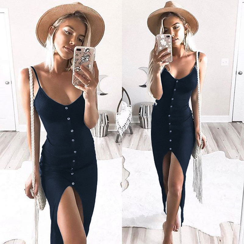 fdd0f542990 Women s Button Down Adjustable Spaghetti Straps Summer Dress Sleeveless  Bodycon Party Maxi Dress