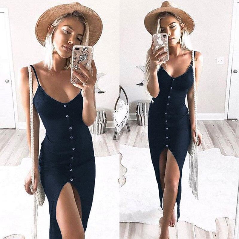 Womens Button Down Adjustable Spaghetti Straps Summer Dress Sleeveless Bodycon Party Maxi Dress