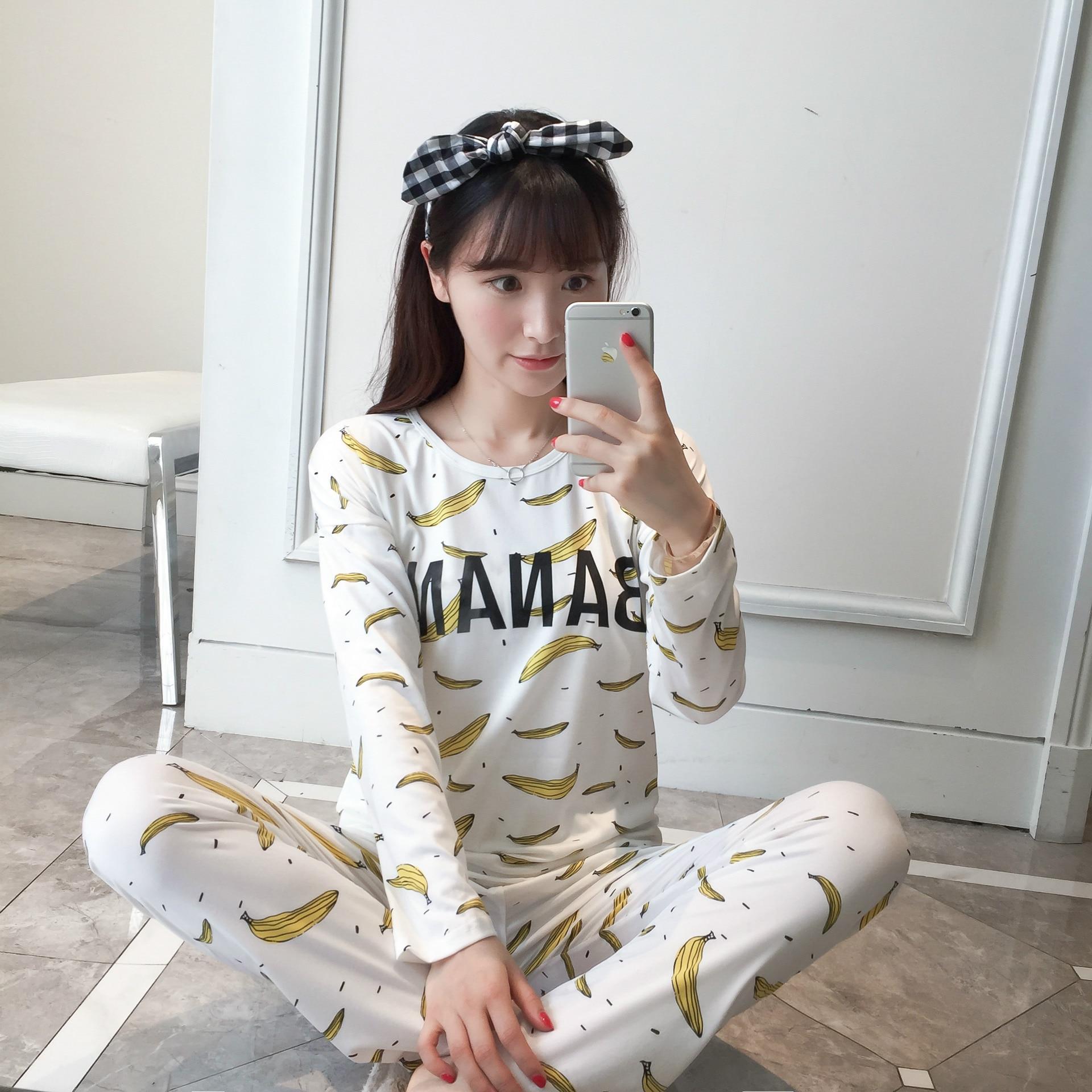 2019 Pajamas for Women Long Sleeved Pyjamas Women's Pajamas Sets Sweet Girls Sleepwear Nightgowns Lounge Women Fashion Clothing