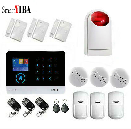 SmartYIBA Wireless Home Security GSM Alarm Security Alarm System WIFI APP Control With Smoke Fire Detector Sensor Burglar Alarm smartyiba wireless 433mhz gsm alarm system home burglar alarm system lcd keyboard fire smoke detector sensor russian french