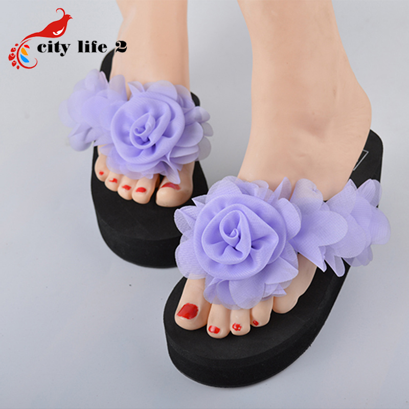 Flowers Slippers font b Women b font Platform Shoes 2016 Summber Sandalias Mujer Sapato Feminino Female