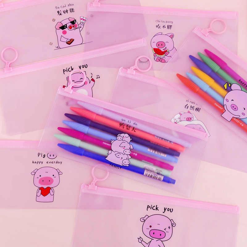 Милый розовый поросенок Карандаш Чехол простой прозрачный мешок карандаша для ручка для девочек коробка kawaii канцелярский Карандаш Чехол школьные канцелярские принадлежности