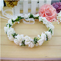 2017 New Fashion Women Wedding Rose Flower Wreath Headband Floral Garlands Hairband Flower Crown Hair Accessories Color Random