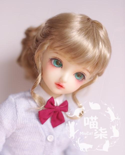New 1/3 8-9' 1/4 7-8' 1/6 6-7' 1/8 5-6' SD BJD Doll Wig Imitation mohair Milk tea brown Curly hair статуэтка африканка 7 8 32см 1096506