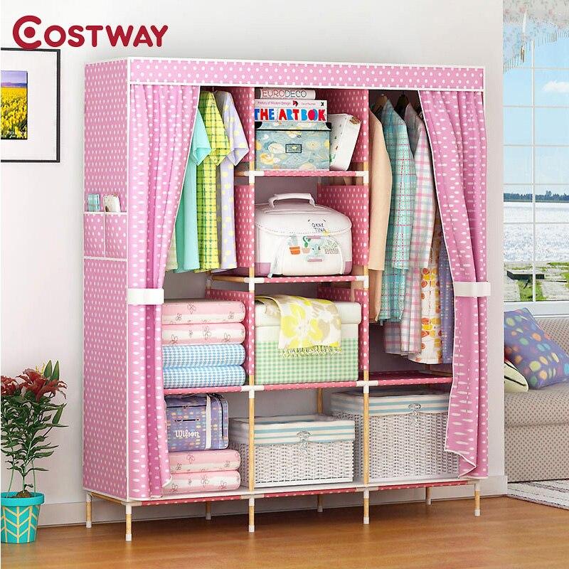 COSTWAY Bedroom Folding Non woven Wardrobes Cloth Storage Saving Space Locker Closet Sundries Dustproof Storage Cabinet