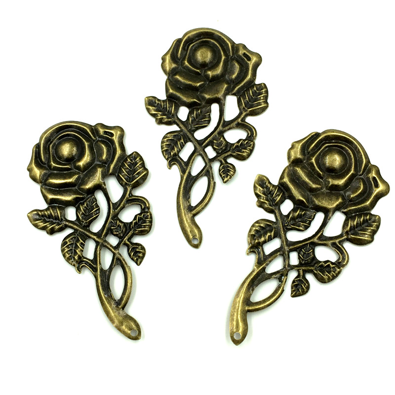 20pcs Retro Bronze Rose Flower Cross Charms DIY Making Finding Crafts