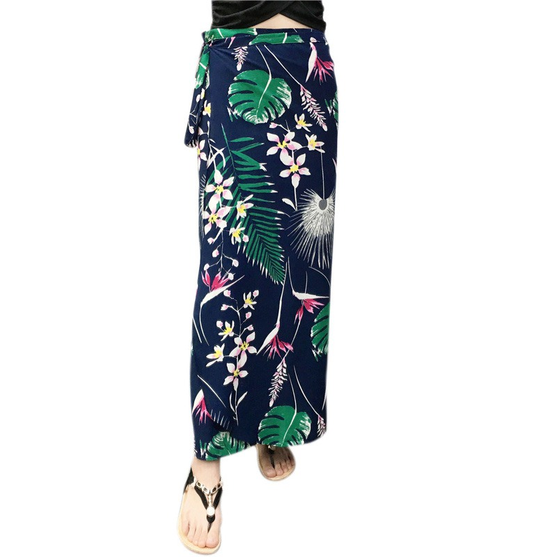c96142af96c9 Floral Print Wrap Skirt Women Sash Tie Up Bohemian Asymmetrical Split One  Piece High Waist Skirts