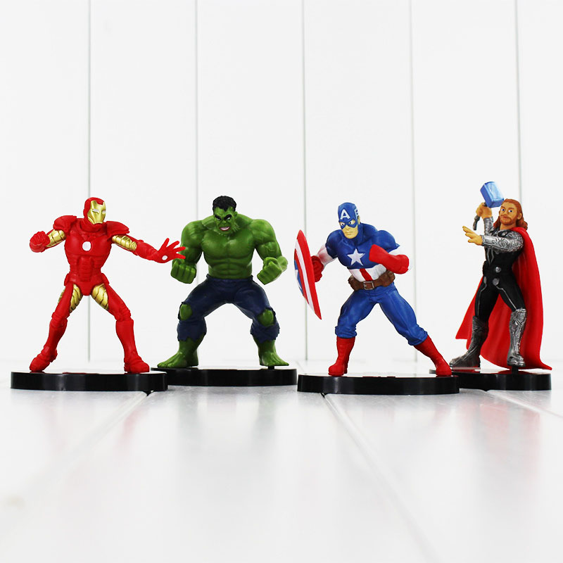 4pcs/set Superheroes The Iron man Hulk Captain America Thor PVC Action Figure Model Toys Dolls 8~10cm