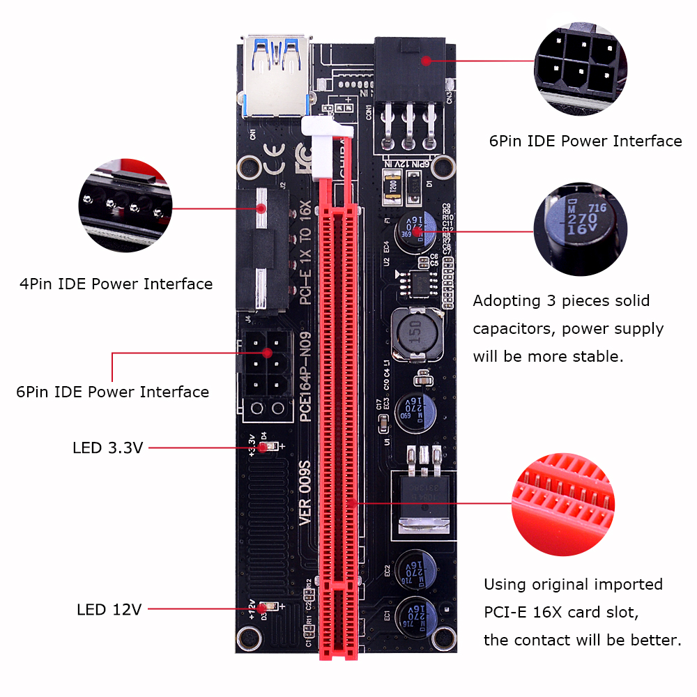Chipal 30cm 009s Pci E Riser Card 009 Express Pcie 1x To 16x Extender 4 Solid Capacitor Adapter Usb 30 Cable 6pin 4pin Molex Power For Miner Bitcoin In Computer Cables