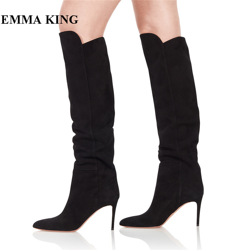 EMMA KING 2018 Botas Mujer Invierno Fashion Women Warm Winter Boots Suede Leather Stiletto Heels Slip-On Black Knee High BootsEMMA KING 2018 Botas Mujer Invierno Fashion Women Warm Winter Boots Suede Leather Stiletto Heels Slip-On Black Knee High Boots
