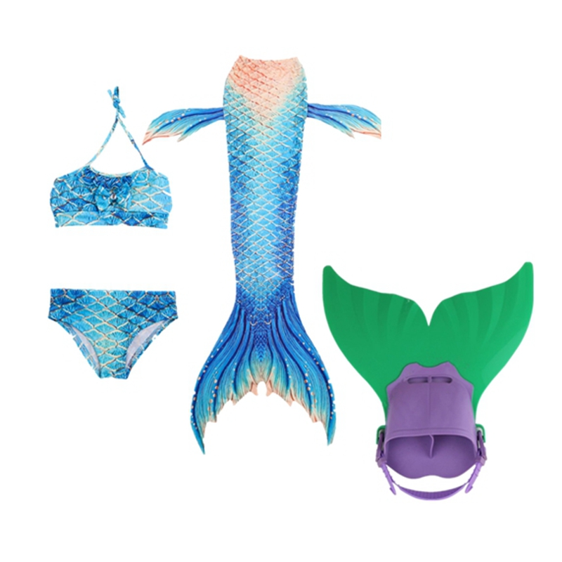 Mermaid Tail Girl Bathing Suit Swimming Mermaid Tail with Monofin Children Ariel Swimmable Costume Cosplay Child Kids
