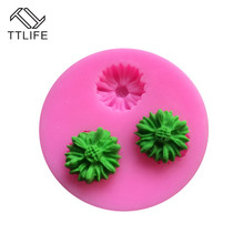 TTLIFE 3D Sunflower Rose Flowers Silicone Moulds Cake Border Decoration Sugarcraft Cake Mold DIY Polymer Clay Crafts 7 Styles kqh036 5 40 in 1 3d leaf pattern diy polymer clay decoration stick set multicolored
