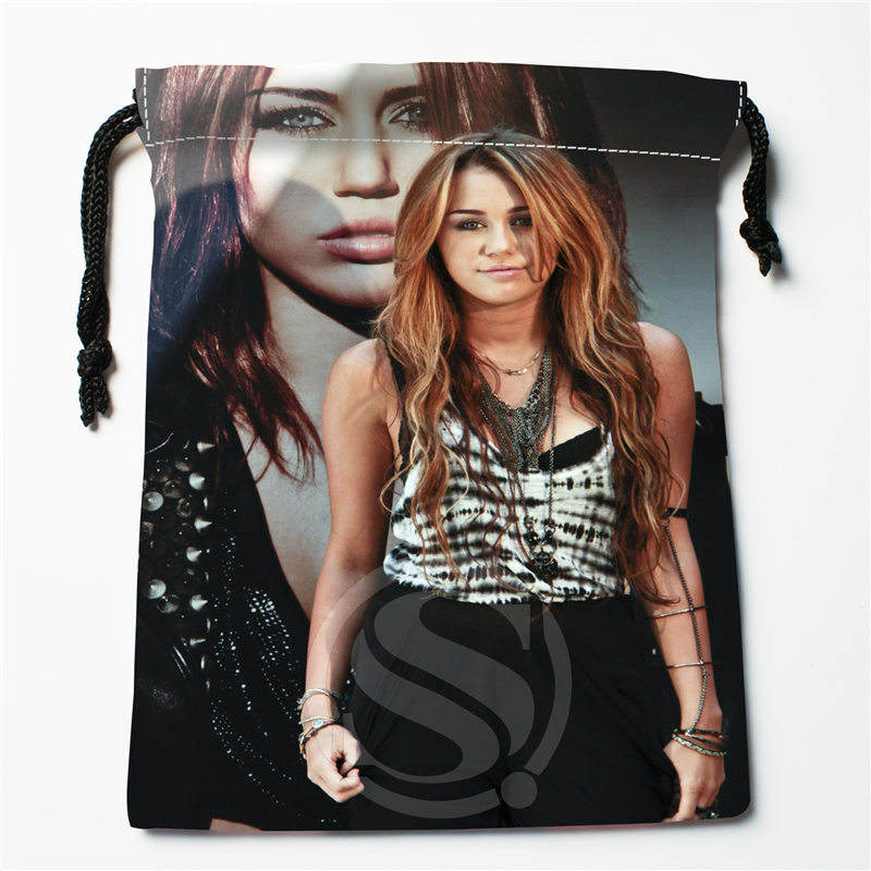 J&w96 New Miley Cyrus Custom Printed  Receive Bag Compression Type Drawstring Bags Size 18X22cm W725&96rDW