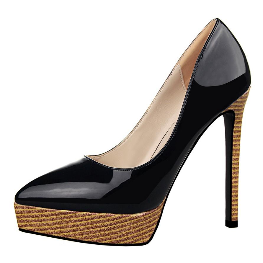 9df37bb918 Fashion wood grain women high heel shoes women pumps pointed toe ...