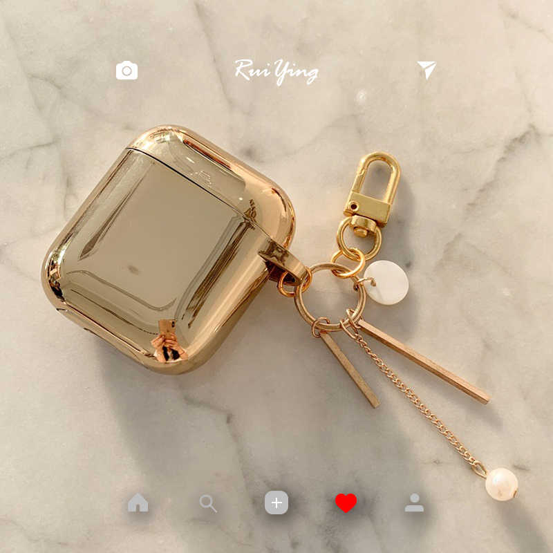 Luxury cute plating metal color five-pointed star pearl silicone Bluetooth Wireless Earphone Case For Apple AirPods 1 2 Headset